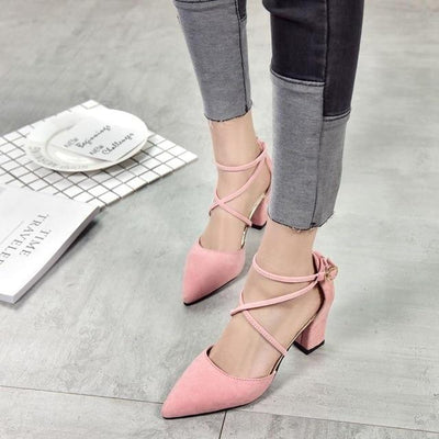 Elegant Pointed Toe High Heels Cross Tie Shoes [4 Colors] #JU2153-Pink-6-Juku Store