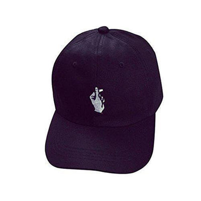 Embroidered KPOP Korean Finger Heart Baseball Hat [3 Colors] #JU2201-Black-Juku Store