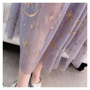Embroidered Star And Moon Long Tulle Dress [3 Colors] #JU2294-Juku Store