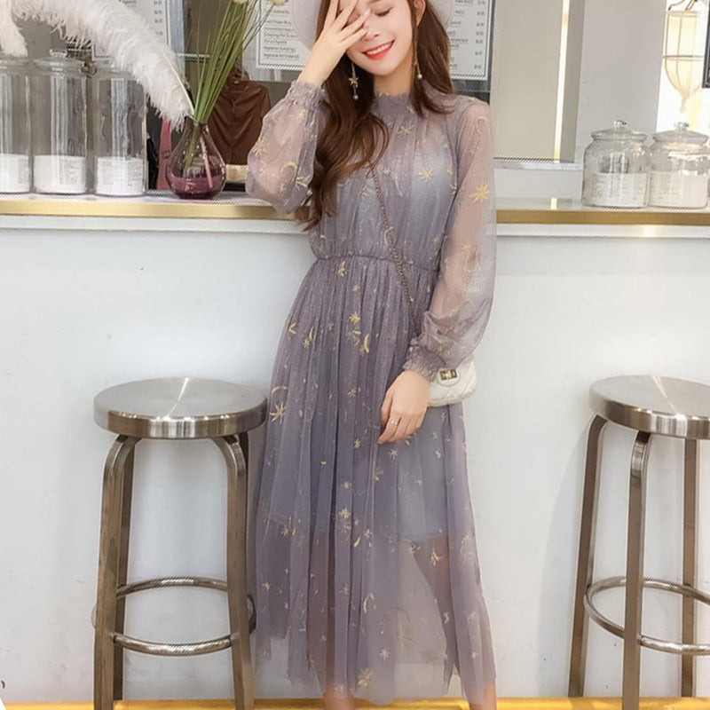 Embroidered Star And Moon Long Tulle Dress [3 Colors] #JU2294-Blue-One Size-Juku Store