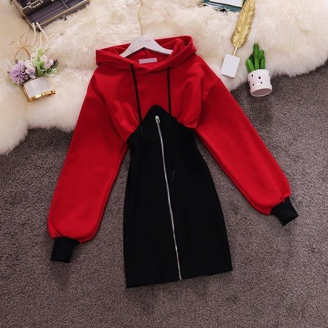 Faux Two Piece Dress Hoodie Korean Outerwear #JU3023