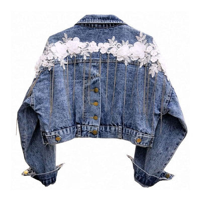 Floral Tassel Short Demin Jacket Korean Casual Coat #JU2772-Juku Store