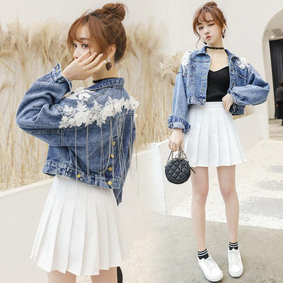Floral Tassel Short Demin Jacket Korean Casual Coat #JU2772-S-Juku Store