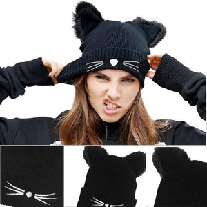 Fluffy Knitted Cat Ear Beanie Hat #JU1802-Juku Store