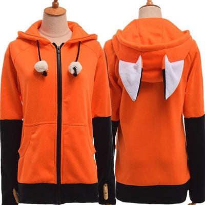 Fox Eared Hoodie Kawaii Hooded Sweatshirt #JU2475-Orange-S-Juku Store