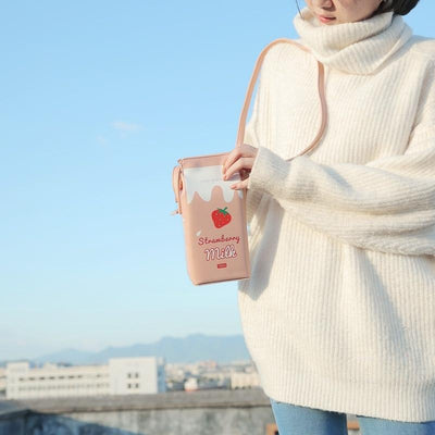 Fruit Milk Box Crossbody Bag Kawaii Pouch #JU2448-Juku Store