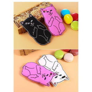 Funny Cat Middle Finger Phone Case For iPhone Soft Silicone Case [4 Colors] #JU2188-Juku Store