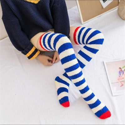 Fuzzy Coral Fleece Long Striped Thigh High Socks [4 Colors] #JU2366-Navy Blue-Juku Store