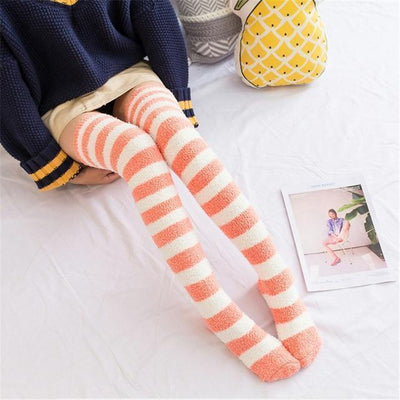 Fuzzy Coral Fleece Long Striped Thigh High Socks [4 Colors] #JU2366-Orange-Juku Store