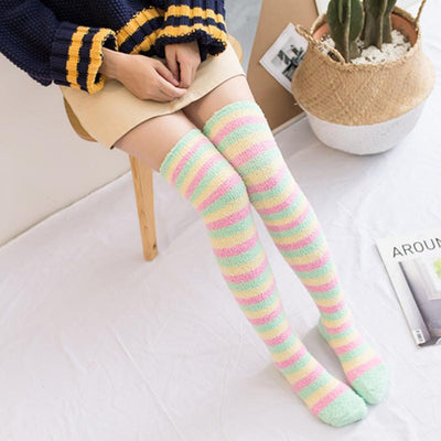 Fuzzy Coral Fleece Long Striped Thigh High Socks [4 Colors] #JU2366-Pink-Juku Store