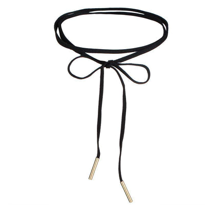 Goth Black Rope Choker 10 Piece Set #JU1839-Juku Store