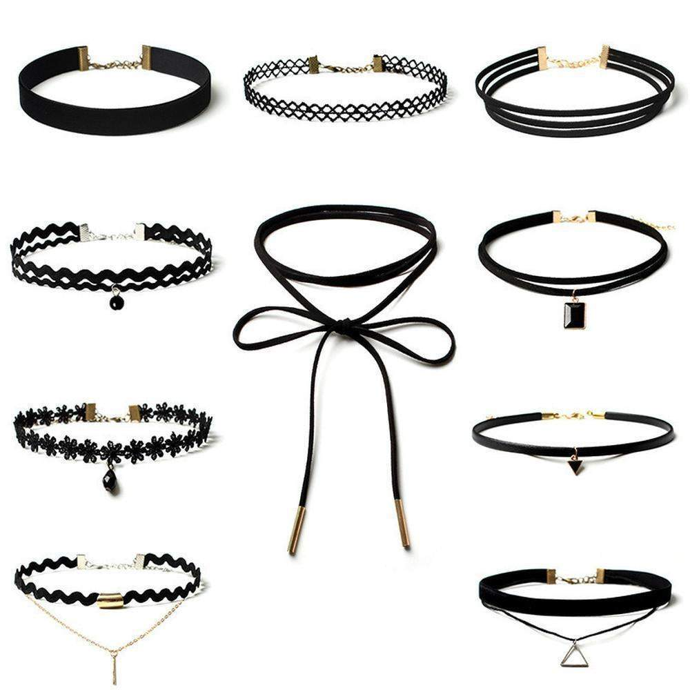 Goth Black Rope Choker 10 Piece Set #JU1839