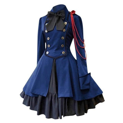 Gothic Lolita Square Collar Dress Vintage Court Princess #JU2630-Blue-S-Juku Store