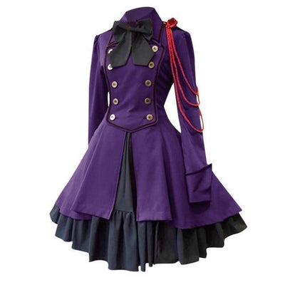 Gothic Lolita Square Collar Dress Vintage Court Princess #JU2630-Purple-S-Juku Store