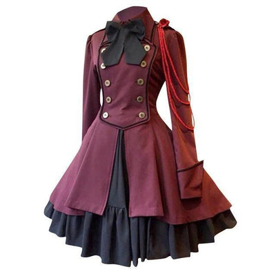 Gothic Lolita Square Collar Dress Vintage Court Princess #JU2630-Red-S-Juku Store