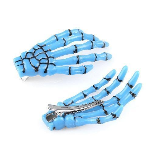Gothic Punk Skeleton Hair Pin Clip [6 Colors] #JU1977-Blue-Juku Store