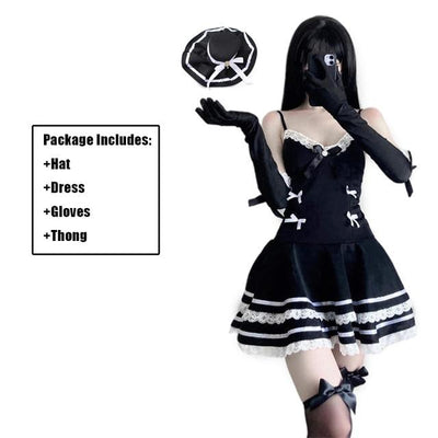 Gothic Sexy Maid Cosplay Costume Lingerie #JU2976-Set-One Size-Juku Store