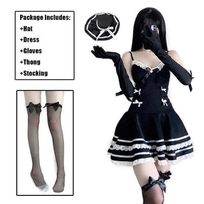Gothic Sexy Maid Cosplay Costume Lingerie #JU2976-Set with Stocking-One Size-Juku Store
