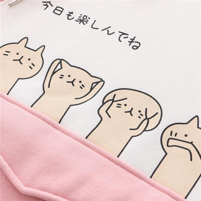 Harajuku Cartoon Cat Fish Hoodie Pastel Sweater #JU2742-Juku Store