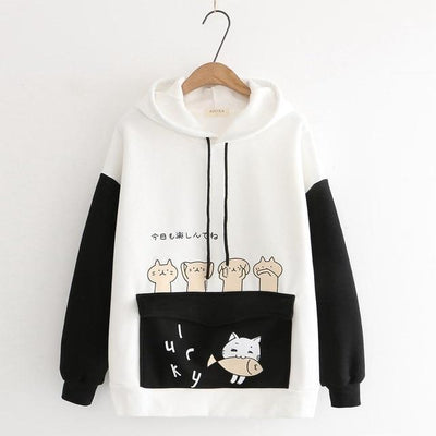 Harajuku Cartoon Cat Fish Hoodie Pastel Sweater #JU2742-Black-L-Juku Store