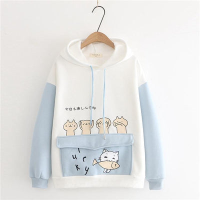 Harajuku Cartoon Cat Fish Hoodie Pastel Sweater #JU2742-Blue-L-Juku Store