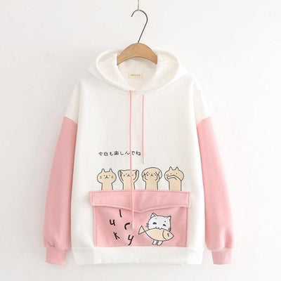 Harajuku Cartoon Cat Fish Hoodie Pastel Sweater #JU2742-Pink-L-Juku Store