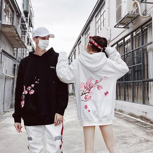 Harajuku Cherry Blossom Hoodie Hip Hop Loose Fit [3 Colors] #JU2285-Juku Store