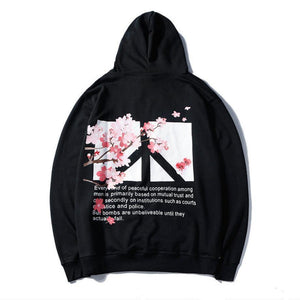 Harajuku Cherry Blossom Hoodie Hip Hop Loose Fit [3 Colors] #JU2285-Black-S-Juku Store