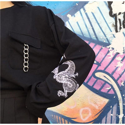 Harajuku Dragon Embroidery Long Sleeve Chain Sweatshirt [2 Colors] #JU2365-Juku Store