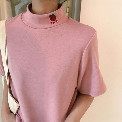 Harajuku Fruit Embroidered High Collar Summer T-Shirt [5 Colors] #JU2302-Pink-One Size-Juku Store