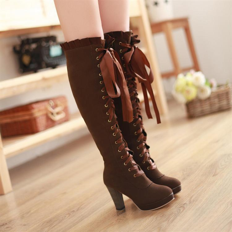 Harajuku Knee High Boots Lace Up High Heeled Shoes [2 Colors] #JU2218-Brown-34-Juku Store