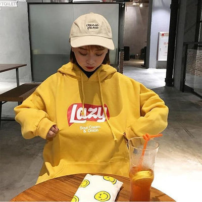 Harajuku Lazy Print Thick Hooded Sweatshirt [3 Colors] #JU2321-Yellow-M-Juku Store