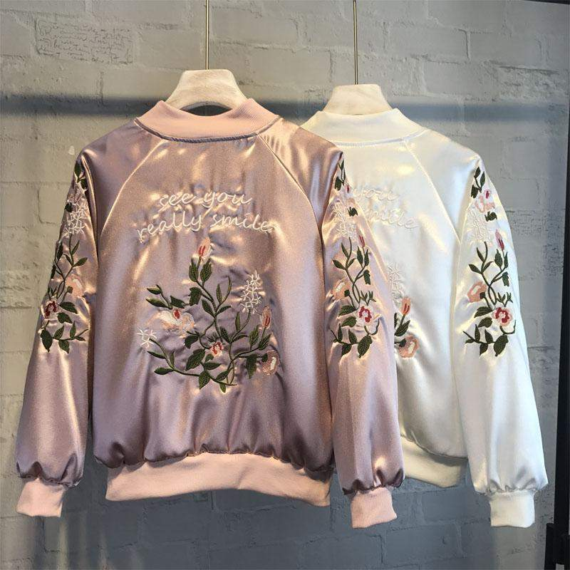 "Harajuku Pastel Bomber Jacket ""See You Really Smile"" Floral Streetwear [3 Colors] #JU1936-Pink-S-Juku Store"