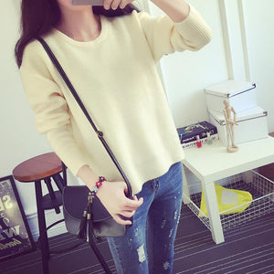 Harajuku Pastel Knitted Sweater Long Sleeve Pullover [8 Colors] #JU2031-Beige-One Size-Juku Store