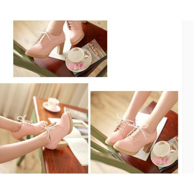 Harajuku Pastel Lace Up Pumps 8cm High Heels Shoes [3 Colors] #JU2034-Juku Store