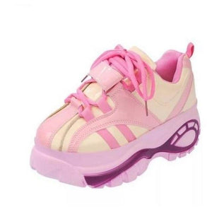 Harajuku Platform Casual Shoes Retro Style [2 Colors] #JU2147-Pink-4-Juku Store