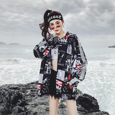 Harajuku Printed Hip Hop Jacket Summer Windbreaker #JU2735-Juku Store