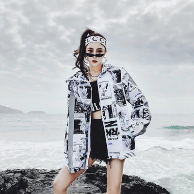 Harajuku Printed Hip Hop Jacket Summer Windbreaker #JU2735-White-XL-Juku Store