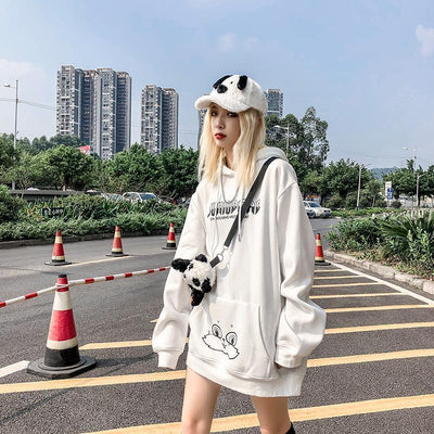 Harajuku Rabbit Eared Graphic Hoodie Kawaii Outerwear #JU2673-Juku Store