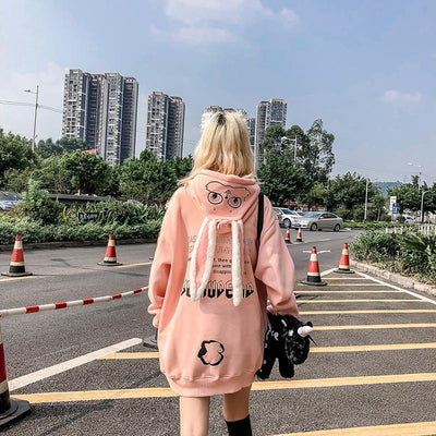 Harajuku Rabbit Eared Graphic Hoodie Kawaii Outerwear #JU2673-Pink-XL-Juku Store