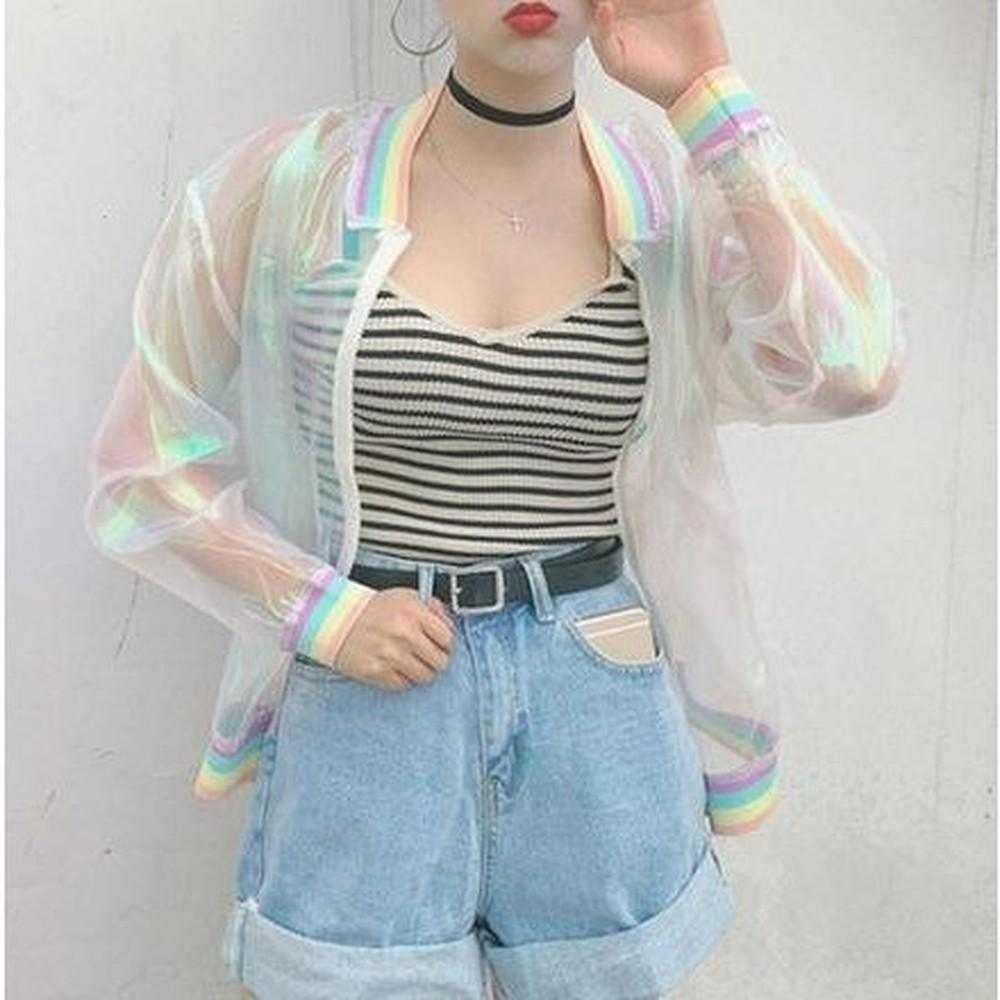 Harajuku Rainbow Hologram Transparent Jacket #JU1805-Juku Store