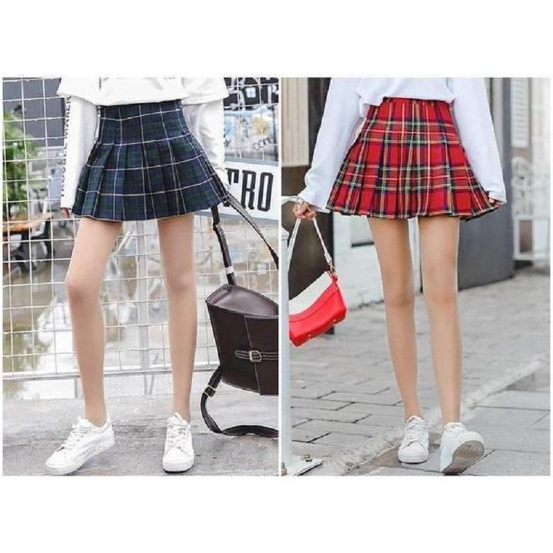 Harajuku Retro High Waist Pleated Mini Skirt [2 Colors] #JU2310-Juku Store