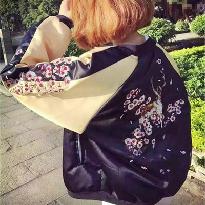 Harajuku Silk Deer Floral Embroidered Bomber Jacket [2 Colors] #JU2077-Juku Store