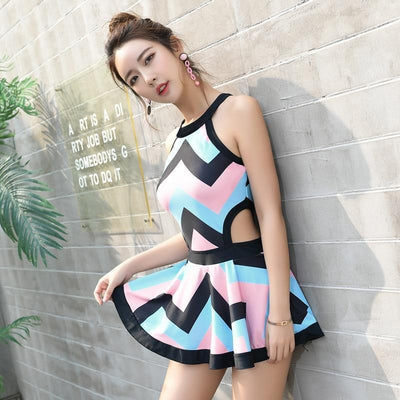 Harajuku Skirt Swimsuit One Piece Striped Swimwear #JU2432-Juku Store