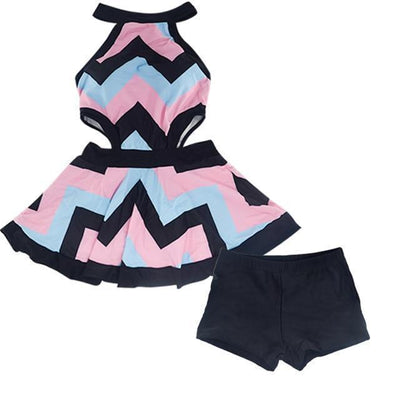 Harajuku Skirt Swimsuit One Piece Striped Swimwear #JU2432-Two Piece-XXL-Juku Store