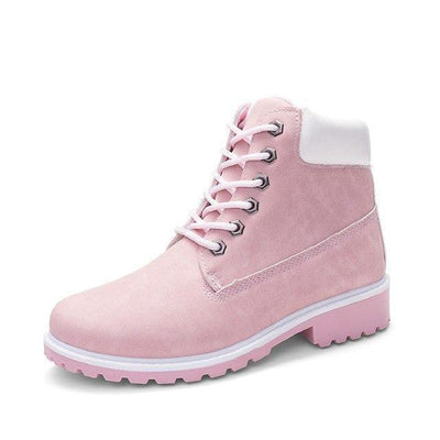 Harajuku Style Round Toe Women's Pastel Ankle Boots [9 Colors] #JU2045-Pink-5 M-Juku Store