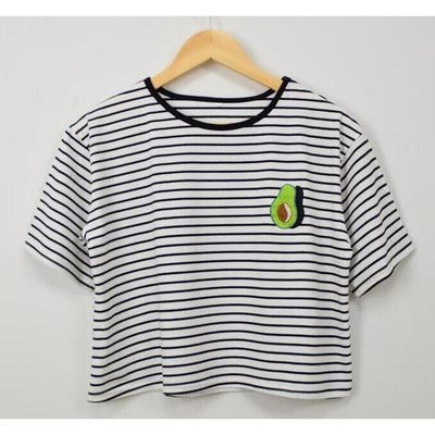 Harajuku Style Summer Avocado Print Striped Korean Crop Top #JU1840-One Size-Juku Store