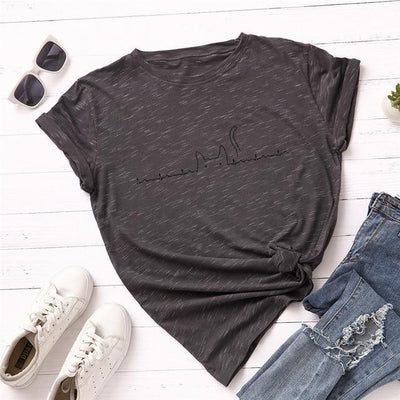 Heartbeat Cat Print T-Shirt Casual Kawaii Top #JU2492-Dark Grey-XXXL-Juku Store