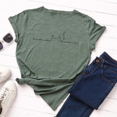 Heartbeat Cat Print T-Shirt Casual Kawaii Top #JU2492-Green-4XL-Juku Store