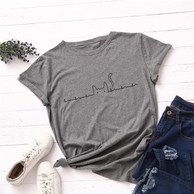 Heartbeat Cat Print T-Shirt Casual Kawaii Top #JU2492-Grey-4XL-Juku Store